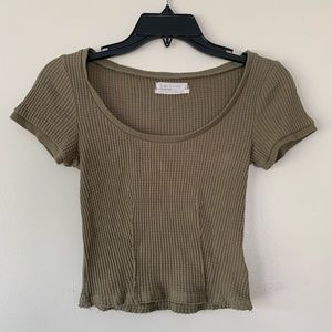 Urban Outfitters Green Waffle Knit Crop Top Cotton